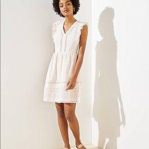NWT LOFT Lacy Eyelet Flutter Dress Size 10